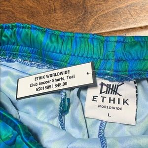 Teal ETHIK Club Soccer Shorts w pockets and patch